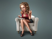 Sexy Mathematics caricature funny comical character personage person actor sexy girl mathematics maths pussy