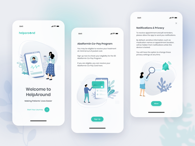 Welcome to: HelpAround onboarding welcome payment method notifications redesign healthapp healthcare ios service mobile ux app ui