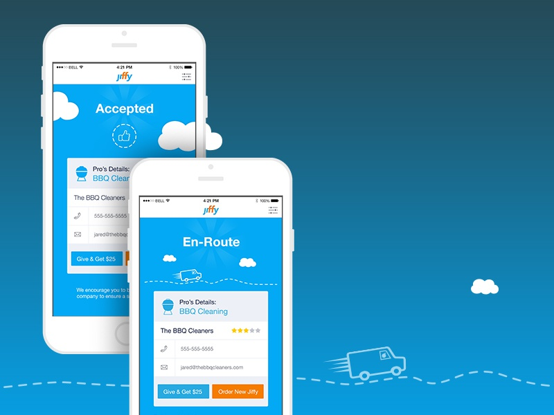 Jiffy is on its way! progress home service order service clouds truck route accepted ux ui app jiffy