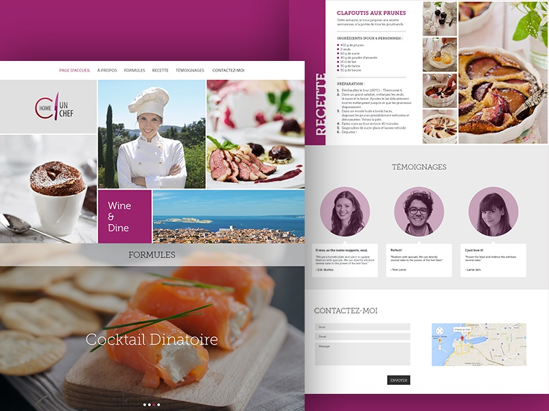 Un Chef LP ui chef france wix cocktail dinner testimonials pastry collage recipe food landing page