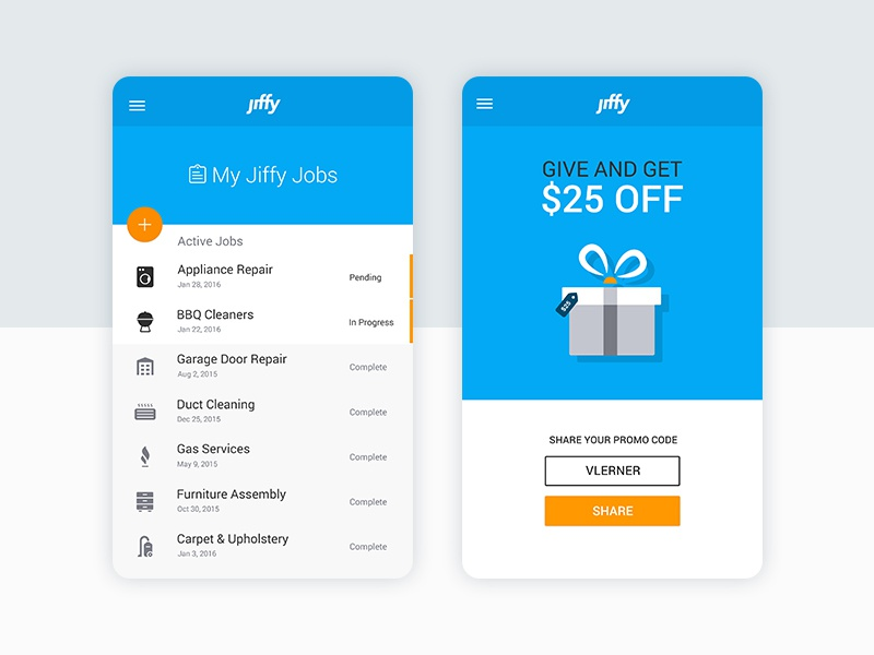 Get a Jiffy! card material icon ios android share gift list service ux ui app