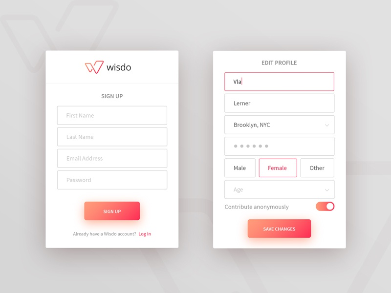 Wizdo Mobile App Rebranding Proposal android ios edit edit profile sign in sign up log in login form mobile ux ui