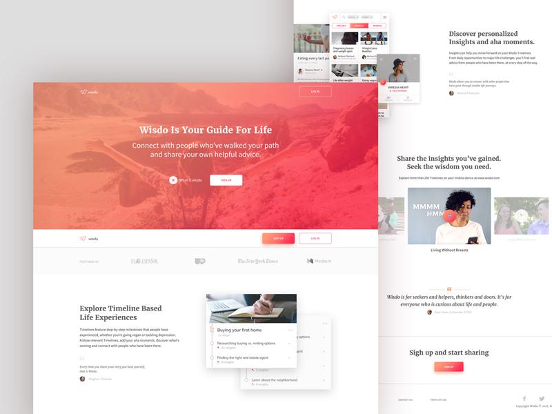 Wizdo Rebranding Proposal serif font serif header web app home page lp landing page website web ux ui