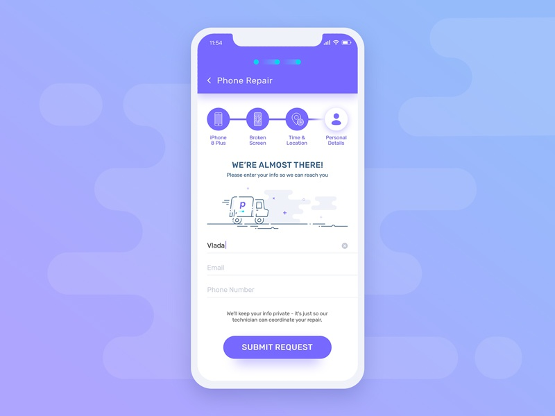 Redesign task for puls repair purple illustration android ios steps booking redesign mobile ux ui