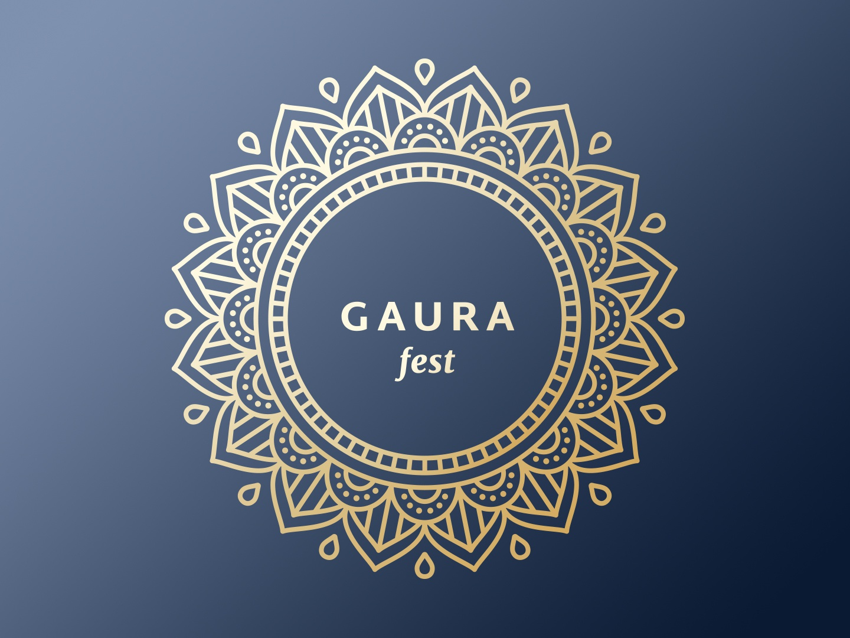 Gaura Fest haribol icon branding vector design illustration indian culture culture ornament krishna mandala chakra blue fest logo gold gaura india