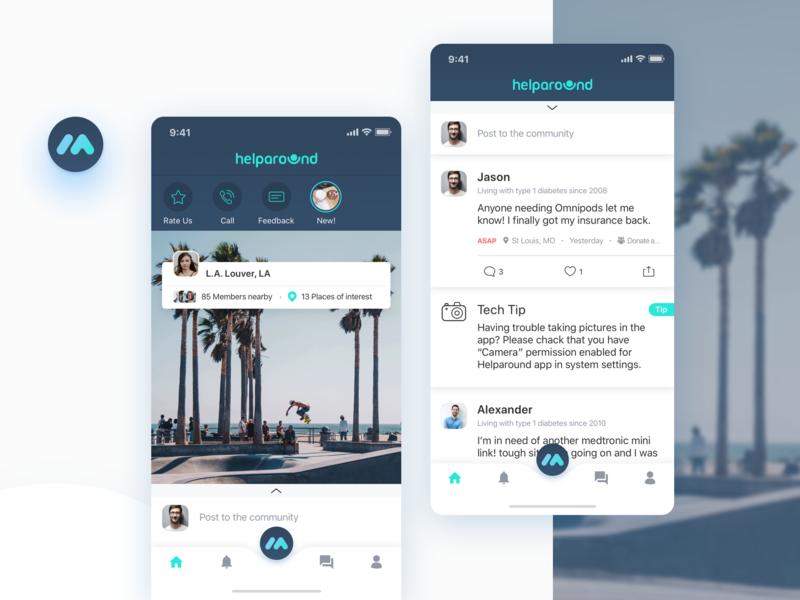 Helparound app design, Location Feed by Vlada Gladishav on