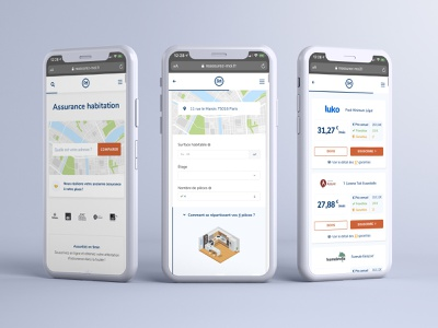 Home insurance UX for mobile insurance company mobile design mobile ui userjourney comparator app adobexd ui ux design ui design insurance design adobe xd sketch