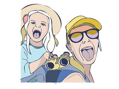 Cheeky Illustration illustration outdoor daughter mom