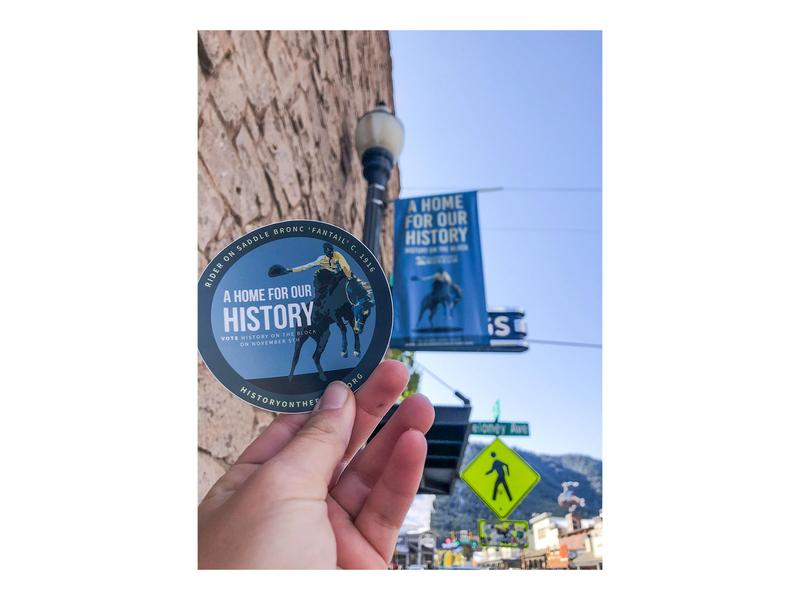 A home for history stickers / lightpole bucking bronco bronco jackson hole history