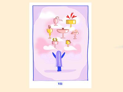Illustration - Tarot card Seven of cups tarot card ilustración tarot illustration
