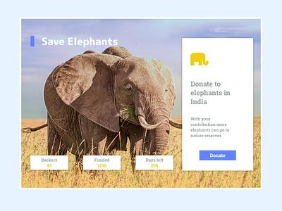 Daily UI 32 - Crowdfunding Campaign elephant campaign uidesign uxui design ui dailyui