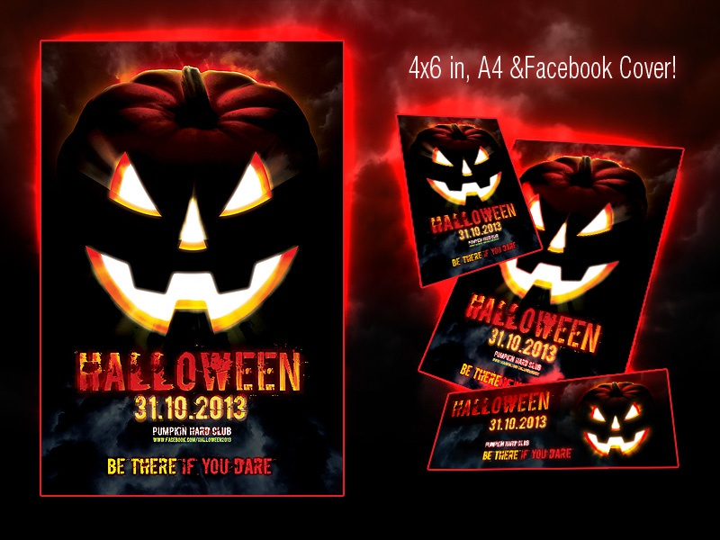 Halloween Scary Flyer halloween scary flyer jack lantern autumn horror party pumpkin spooky trick treat
