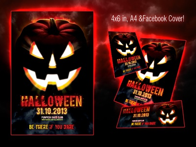 Halloween Scary Flyer halloween scary flyer jack lantern autumn horror party pumpkin spooky trick treat