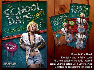 School Days Party Flyer school days party flyer chalkboard chalk classroom sexy eraser student girl teacher