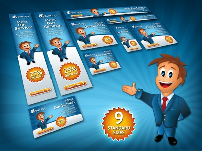 Business Mascot Web Banner Set business mascot web banner banners set advertising marketing skyscraper leaderboard campaign online