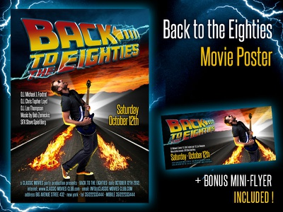 Back To The Eighties Movie Poster back eighties 80s movie film poster flyer event cinema music party back to the future