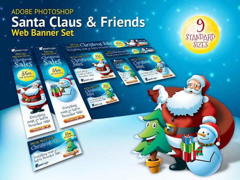 Santa Claus & Friends Christmas Web Banner Set santa claus christmas christmas tree banner banners snowman marketing advertising online snow xmas promotion