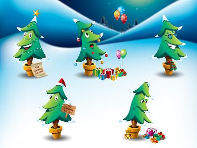 Christmas Tree Cartoon Vector Set chrismtas tree cartoon vector set accessories star illustration night sleigh santa claus