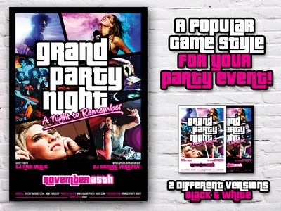 Grand Party Night Flyer - GTA Style gta grand theft auto vice city party event flyer poster template night