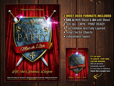 The King's Party Flyer shield king knight knights medieval ornaments party realistic shields sword swords war