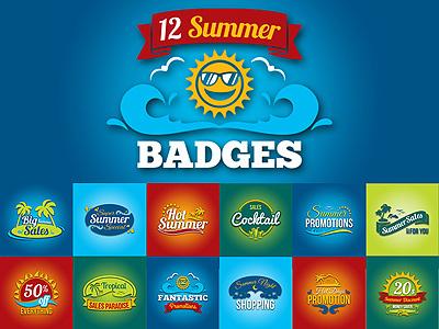 Summer Promotion Badges badge cocktail hot marketing ocean palm tree promotion sale sea season summer vintage badge