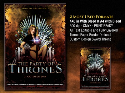 Party of Thrones Medieval Flyer blade blood castle game game of thrones king knight medieval roman shield sword throne