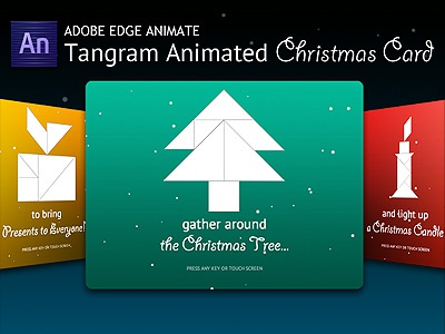Tangram Animated Christmas Card HTML5 animated animated card animation christmas christmas animation christmas card christmas tree html5 presents santa claus tangram xmas