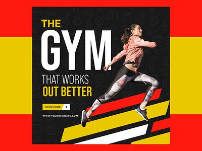 Fitness  GYM Banner fitness fitness club gymnastics gym flyer gym logo fitness banner gym banner brand identity logo design vector ui typography responsive banners social media banner banner branding