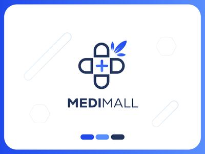 Medical logo design - MediMall Logo healthcare logo healthcare logotype logo icon clinic logo medical leaf logo blue medicine logo medicines medical logo typography design logo