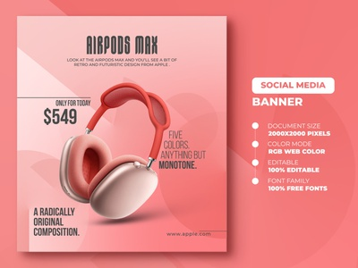 AirPods Max Social Media Banner Template responsive social typography design banner promotional banner facebook ads ads google ads shopify banner web banner design web banner banner inspiration social media banner mockup banner design banner template social media banner airpods