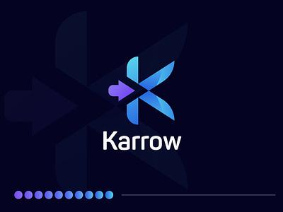 Karrow Brand Logo | K Letter Logo a letter logo a logo design branding design company logo gradient logo modern logo logo mark logodesigner logos logo logodesign brand icons brand icon idenity branding typography lettering art lettering monogram communication