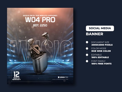 Social Media Banner | Earphone Banner social media banner examples social media banner ideas social media banner design ideas social media banner post social media banner sizes social media banner images smartwatch banner banners typography gadgets social banner social media banner