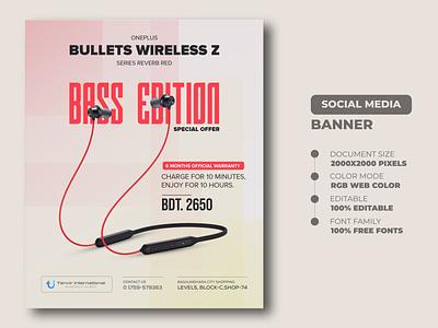 Earphone Social Media Banner Templates earphone banner ads web banner social media banner media social banner