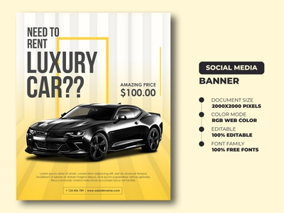 Car Rent Social Media Banner Templates | Car Rent Flyer template digital banner digital flyer ads banner ads banners banner templates banner social media banner flyer templates car rent flyer flyer