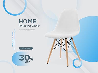 Home Relaxing Chair Banner typography app illustration ui banners social responsive social media banner design branding