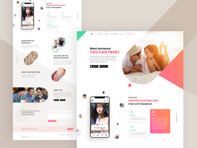 Dating Landing Page singlepage one page landing page website dating dating app lean ux connecting ios app app ui ux flat minimal design