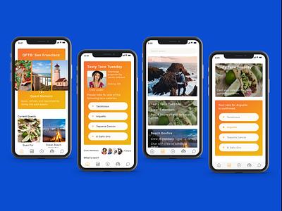 Quest for the best - Social challenge exploration app ui  ux mobile app design visual design
