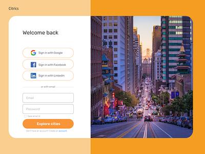 Sign Up/Sign In Illustration vs Photography cities email linkedin google facebook ui design illustration login page login signin signup sign in sign up