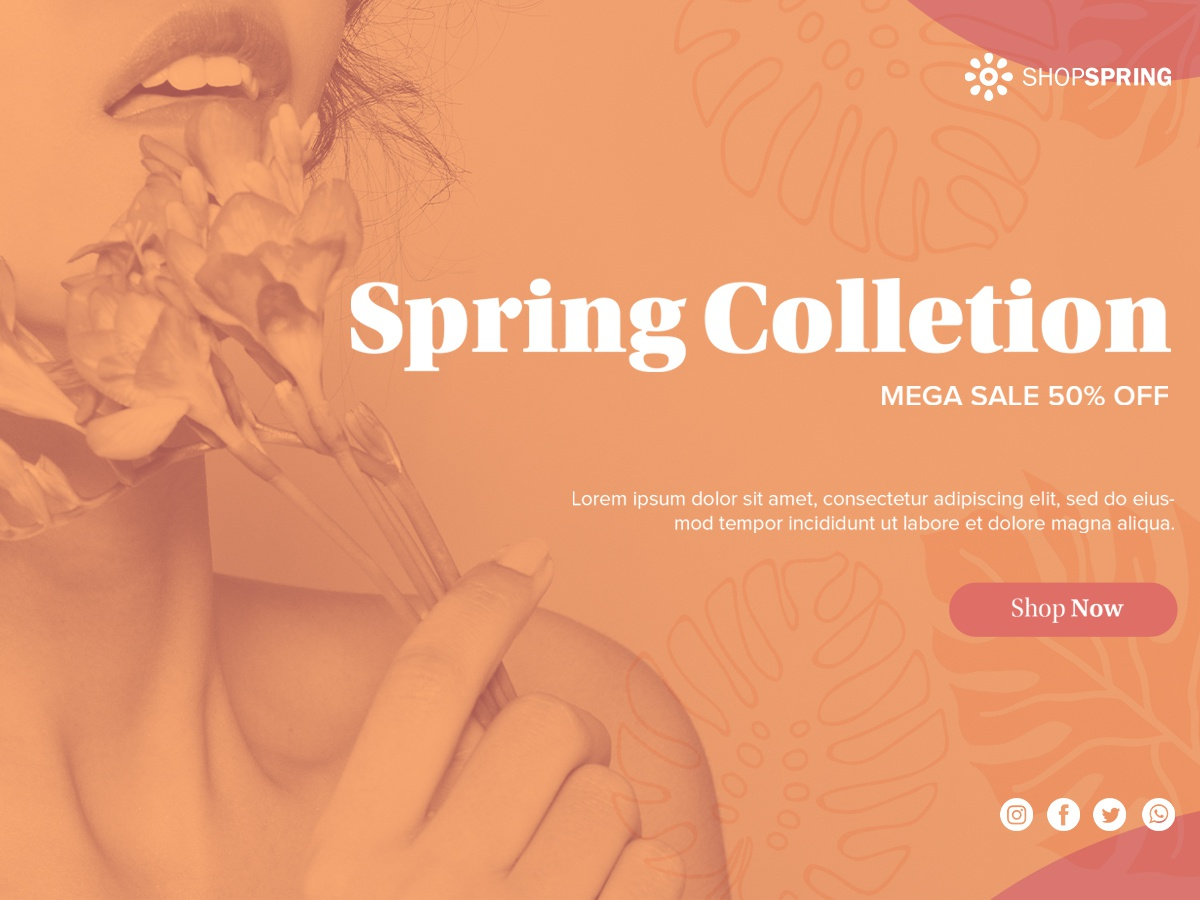 Spring collection banner template Free Psd springtime seasonal bargain discount offer store promo woman shopping spring promotion