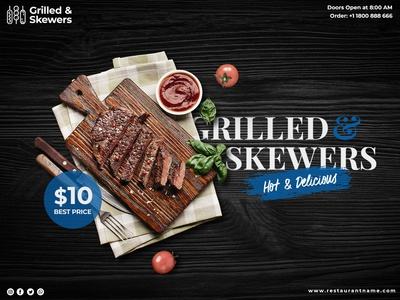 Grilled and skewers restaurant banner template Free Psd