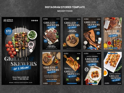 Grilled skewers restaurant instagram stories template Free Psd