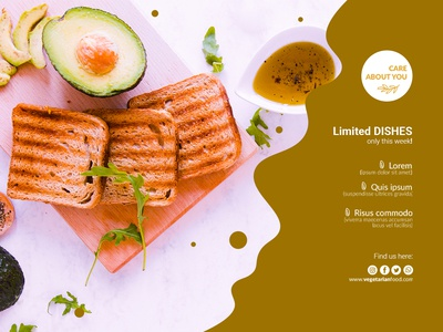 Vegetarian restaurant banner template Free Psd