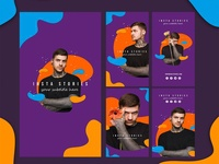 Instagram stories template with abstract vivid colors Free Psd