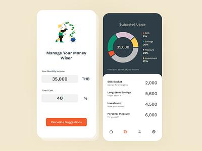Money Management Calculator: Daily UI 004 calculator piechart money management money finance dailyui004 dailyui