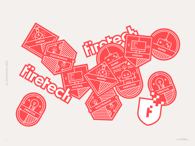 Firetech Badges branding illustration design vector technology playful games fun education creative coding badges