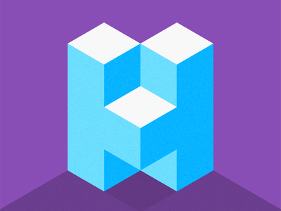 36 days of type - H h bright colours type typographic design grain bright blue angles isometric geometric 36days-h 36daysoftype