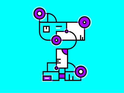 36 days of type - T fluorescent alphabet fururistic robot t 36days-t bold adobe colour lines type experimental bright design 36daysoftype typography