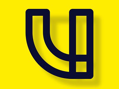 36 days of type - U bright yellow alphabet simple u 36days-u vector experimental lines design 36daysoftype typography