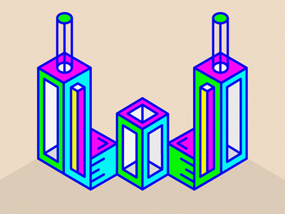 36 days of type - W type psychadelic isometric w 36days-w alphabet letter text simple 3d fluorescent adobe lines experimental bright bold typography 36daysoftype