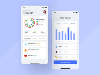 Daily Tracker App uidesign uxdesign fitness app hydration app statistic tracker app art clean ux ui mobile ios flat figma design application app